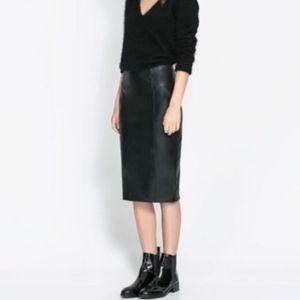 Zara midi faux leather pencil skirt